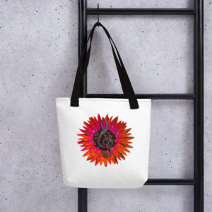 Red Heart Singing Sunflower tote bag